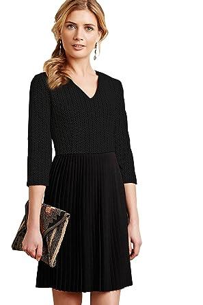 414007928bfd Anthropologie Women's v-Neck Solid Three-Quarter-Sleeve Short Straight Dress,  Black