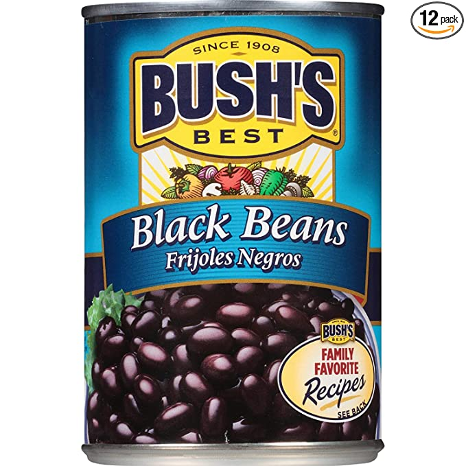 BUSH'S BEST Black Beans, 15 Ounce Can (Pack of 12), Black Beans Canned, Canned Beans, Source of Plant Based Protein and Fiber, Low Fat, Gluten Free, Great for Bean Soup & Bean Dip