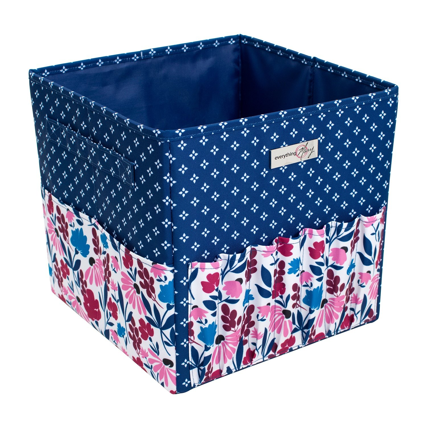 Everything Mary Square Yarn Caddy Blue//Pink Floral 28 x 28 x 28cm EVM11101-1