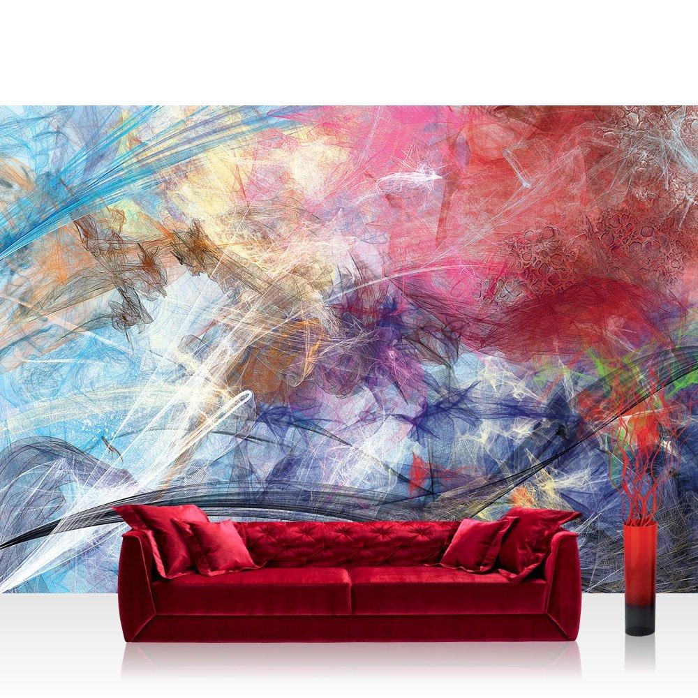 Vlies Fototapete 416x254cm PREMIUM PLUS Wand Foto Tapete Wand Bild Vliestapete - Kunst Tapete abstrakt modern Formen fließend bunt - no. 3175