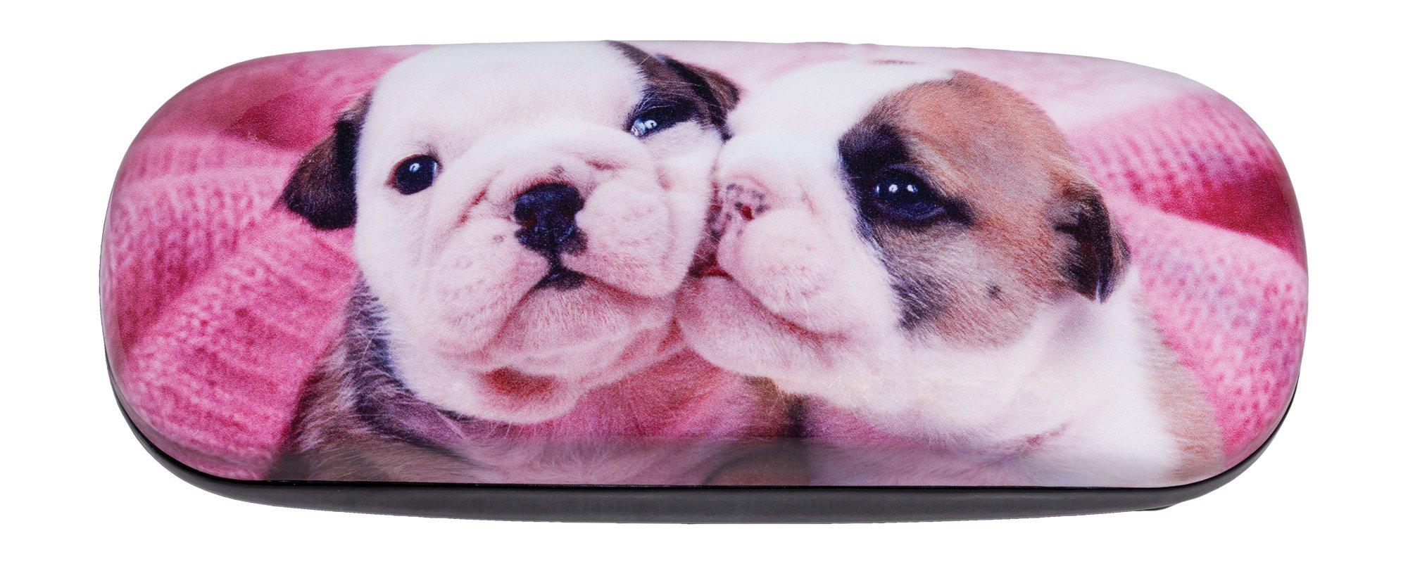 Hard Shiny Eyeglass Case Adorned With Photo Of Adorable English Bulldog Puppies