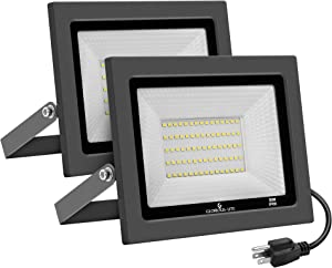 LED Flood Light Outdoor - GLORIOUS-LITE 2 Pack 50W Outdoor Floodlights - 5000LM Bright Work Light with Plug, 5000K Daylight White, IP66 Waterproof Outdoor Lights for Backyard, Garage, Garden, Lawn