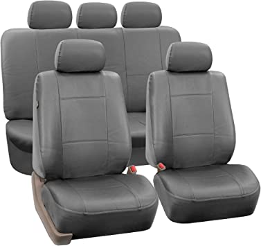 Full Set Airbags Compatible and Split Bench Cover FH Group PU002SOLIDGRAY115 Gray Faux Leather Split Bench Auto Seat Cover