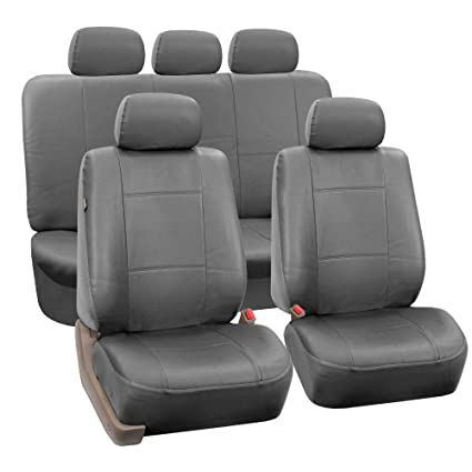 Solid Gray- Fit Most Car SUV FH Group PU001102 Classic Synthetic Leather Pair Set Car Seat Covers Truck or Van