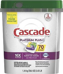 Cascade Premium 2-Pack Platinum Plus Dishwasher Detergent Actionpacs, Lemon, 70 Count