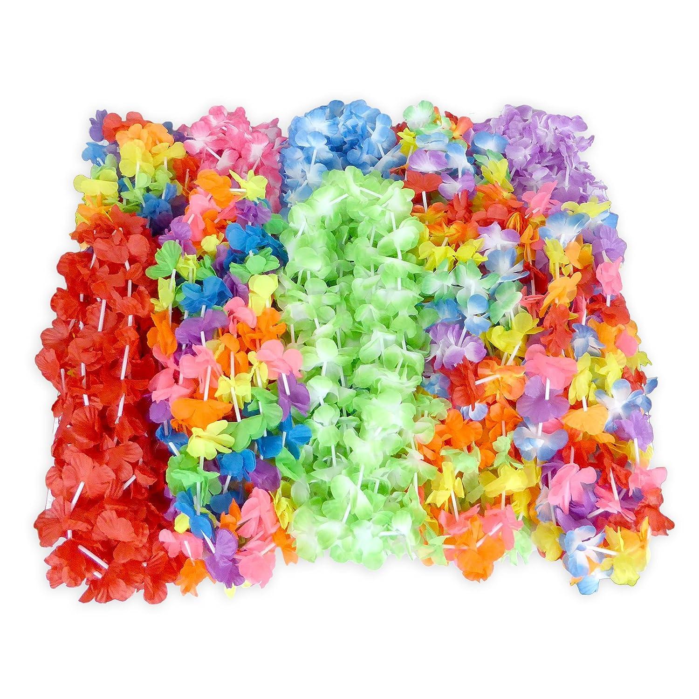 Wall2Wall 50 Party /& Wedding Favors Mega Luau Leis Hawaiian Theme Multi Colorful Tropical Summer Floral Necklace Simulated Silk Lei