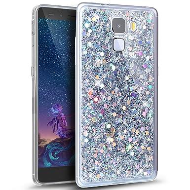 Kompatibel mit Huawei Honor 7 Hülle,Glänzend Bling Glitzer Diamant Muster TPU Silikon Handy Hülle Tasche Silikon Case Durchsi