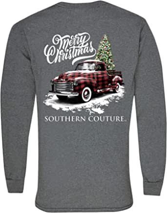 Southern Couture Truck Christmas Tree Graphite Heather Cotton Fabric Long Sleeve T-Shirt