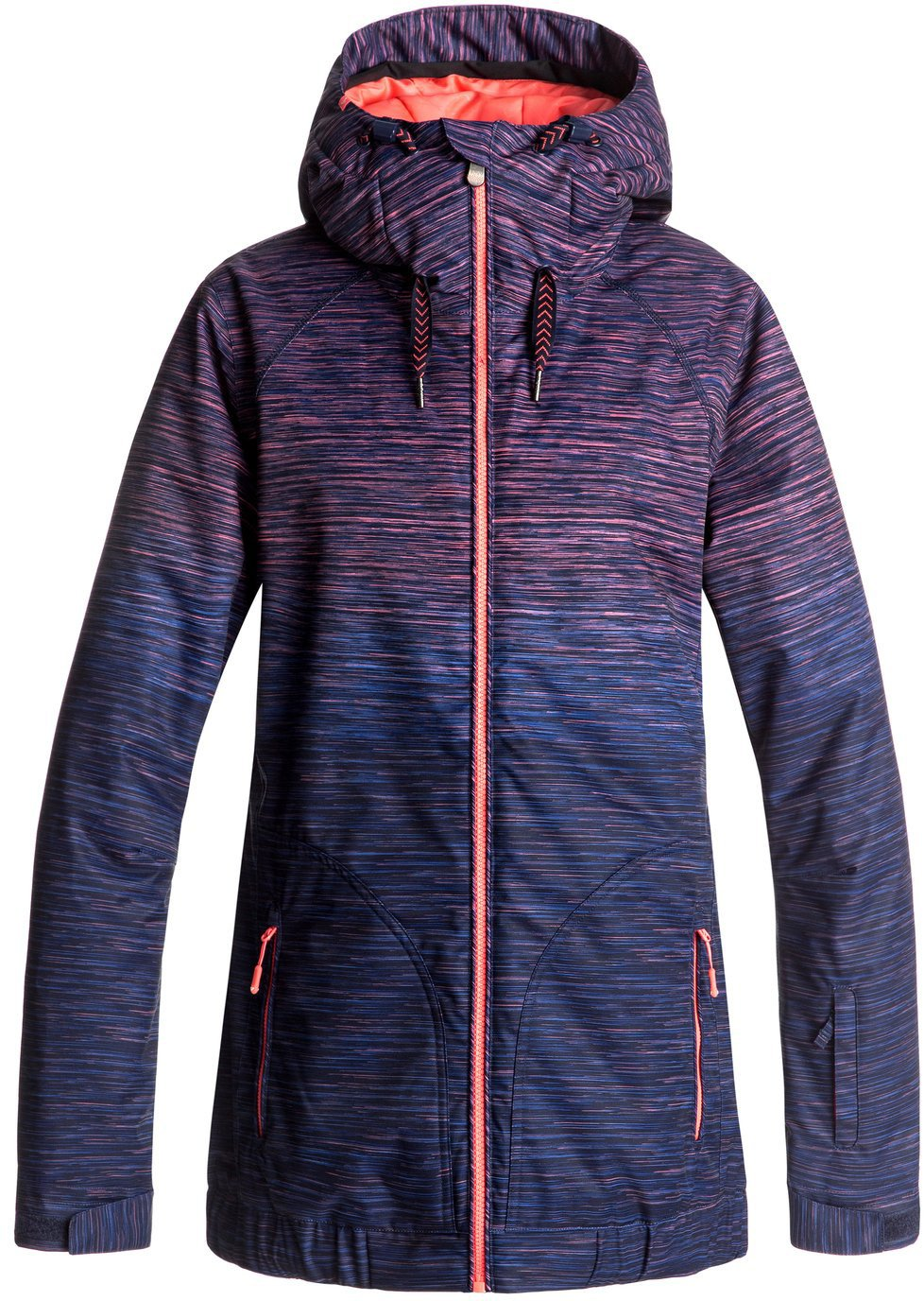 Roxy SNOW Junior's Valley Hoodie Snow Jacket, Neon Grapefruit_Space Dye Grad, L by Roxy