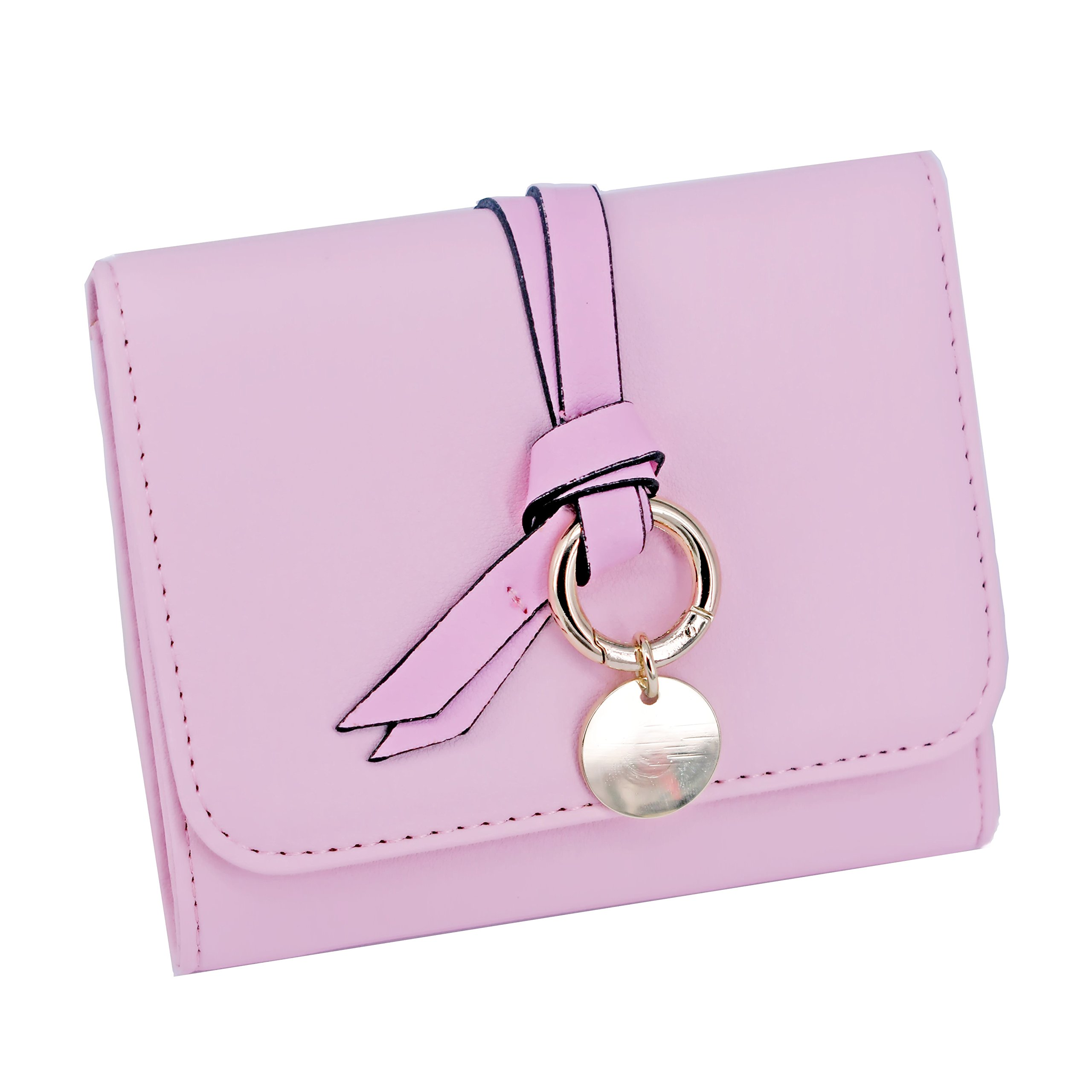ABC STORY Womens Cute Pink Purse Card Holder Small Trifold Wallets For Teen Girls