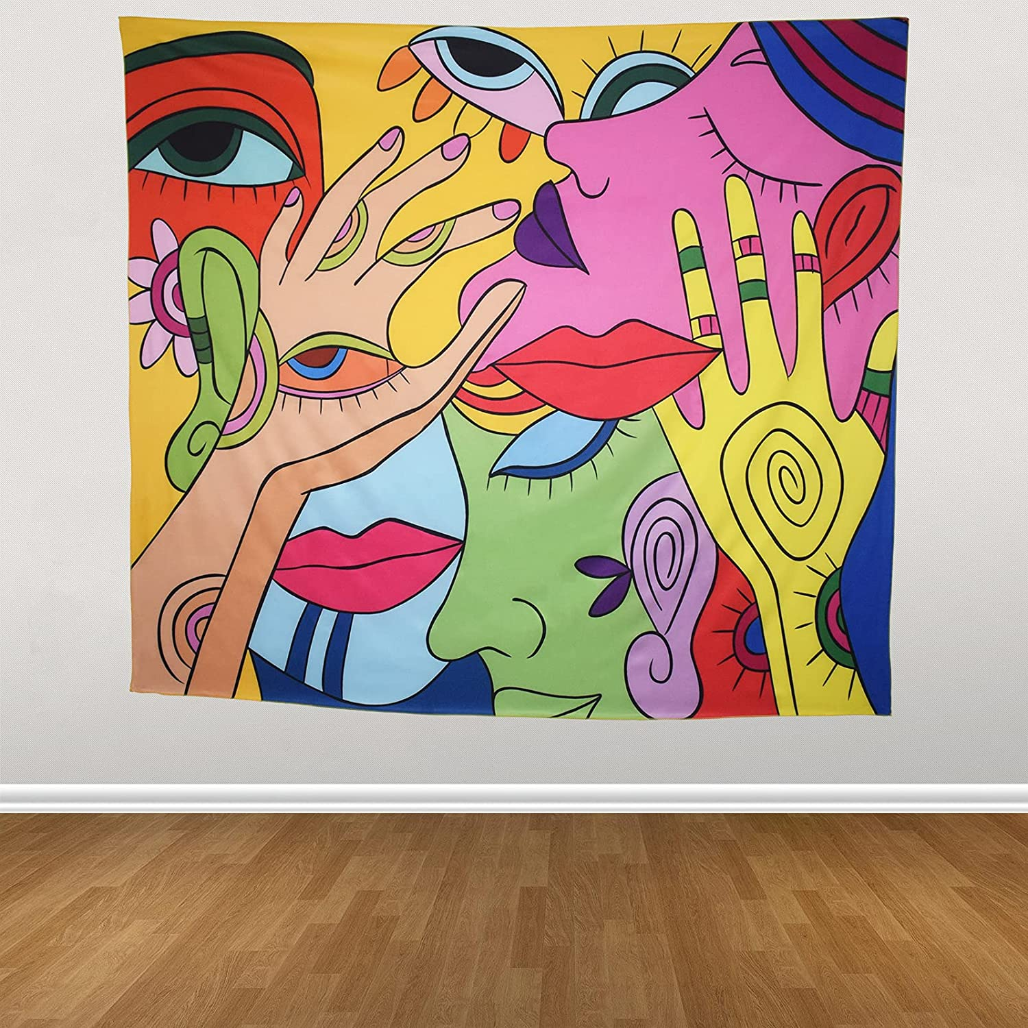 Trippy Wall Tapestry for Bedroom Aesthetic Hippie Room Decor Girl Wall Hanging Fantasy Popular Art Tapestries for Room Room Dorm Home Decortion Colorful 51.2 X 59.1 inches