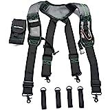 MELOTOUGH Gel Construction Work Suspender Tool Belt Suspenders with Gel shoulder pad Detachable Phone Holder (Trigger Snap Ho
