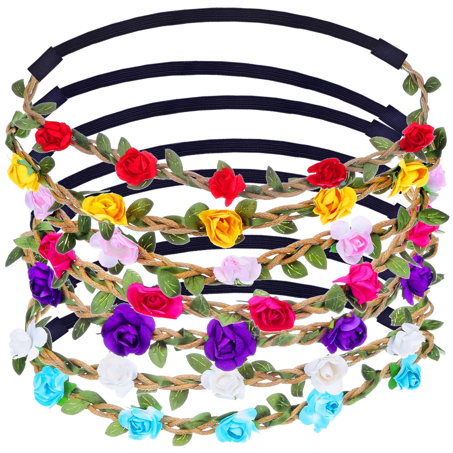 7 Pieces Rose Flower Headband Hair Band for Women Girls Hair Accessories (Multicolor B) eBoot