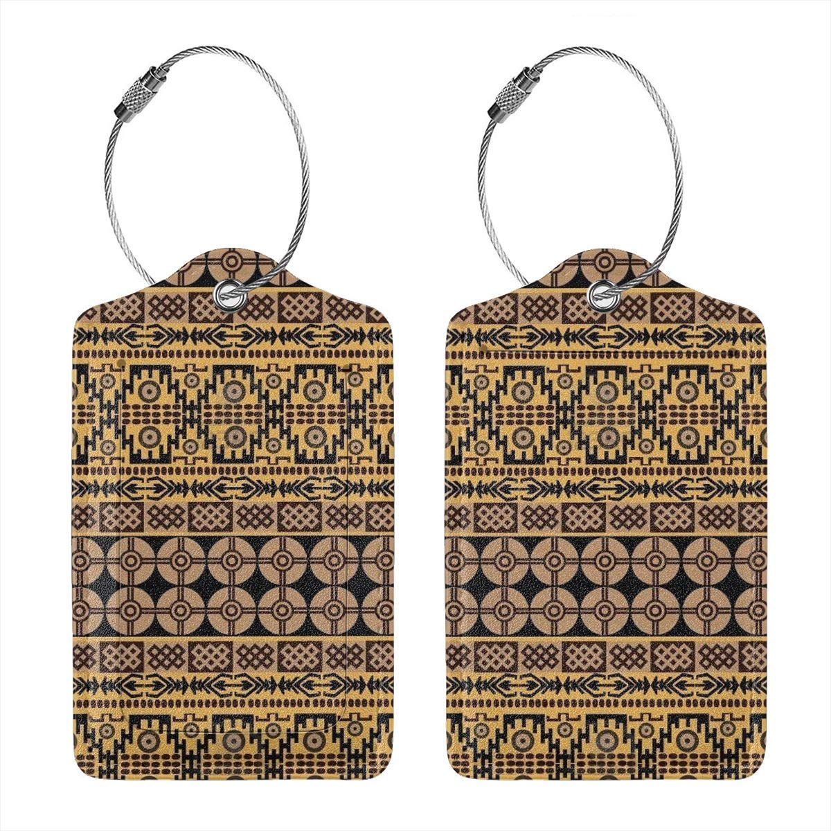 Leather Luggage Tags Full Privacy Cover and Stainless Steel Loop 1 2 4 Pcs Set African Ethnic Pattern 2.7 x 4.6 Blank Tag Key Tags for Instrument Baggage Bag Gift