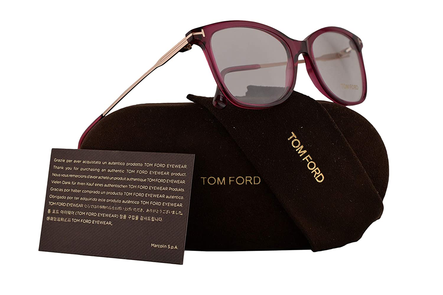 5c2e7a3aa7cbc2 Tom Ford FT5510 Eyeglasses 52-17-140 Shiny Violet w Demo Clear Lens 081  TF5510 TF 5510 FT 5510  Amazon.co.uk  Clothing