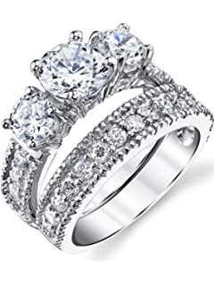 sterling silver past present future 2 pc bridal set engagement wedding ring band w - Sterling Silver Diamond Wedding Rings