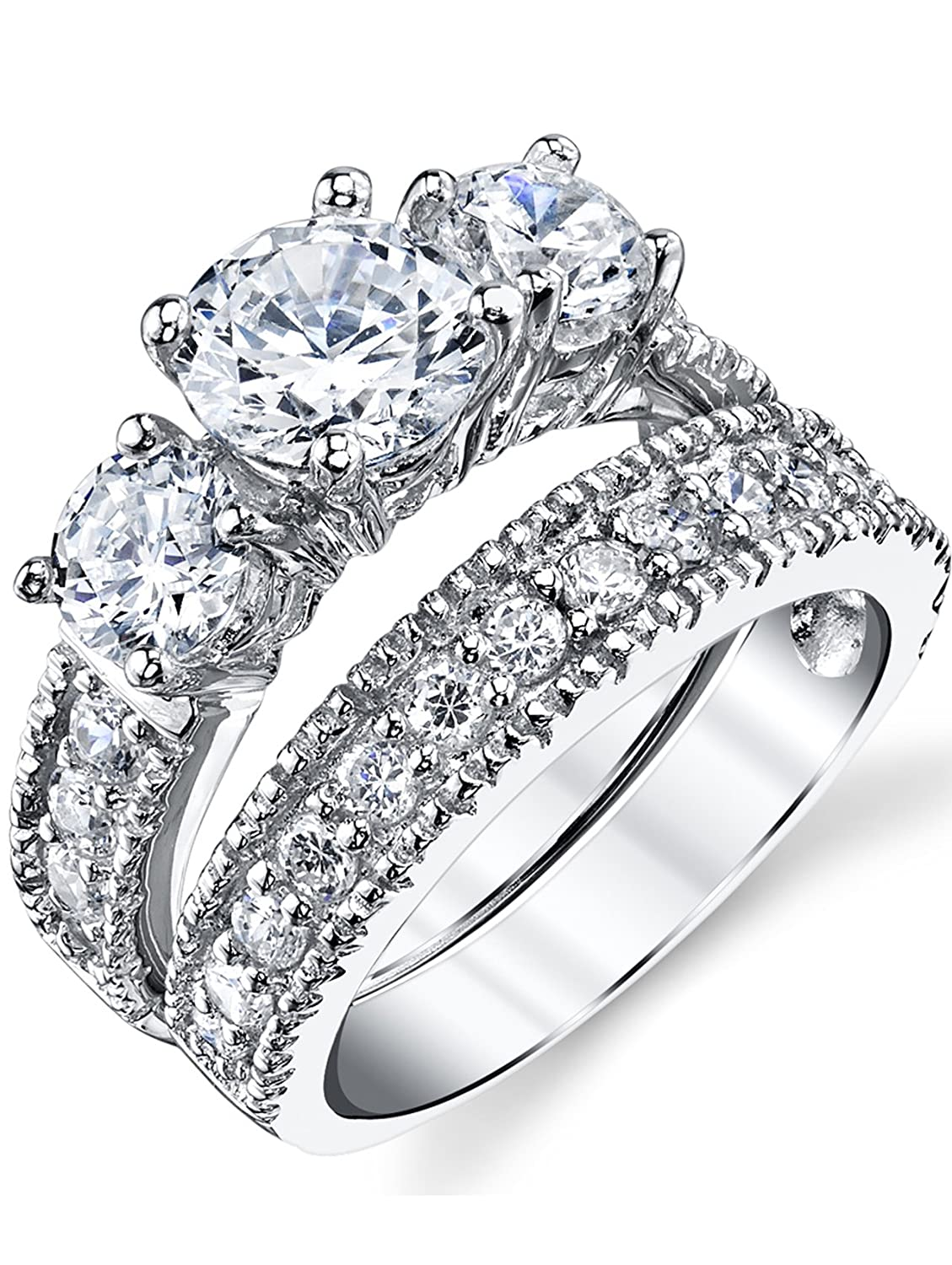 Sterling Silver Past Present Future 2-Pc Bridal Set Engagement Wedding Ring Band W/Cubic Zirconia CZ SILRXXX216