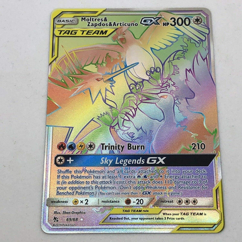 Hidden Fates Moltres Zapdos Articuno GX 44//68 Tag Team x10 Pokemon booster cards by BT