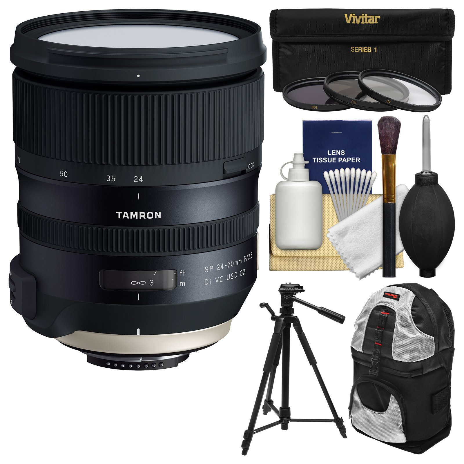 Tamron 24-70mm f/2.8 G2 Di VC USD SP Zoom Lens with 3 UV/CPL/ND8 Filters + Backpack + Tripod Kit for Nikon DSLR Cameras