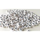 Gleader 200x Weiss Rund Alphabet Buchstaben Spacer Perlen 7mm