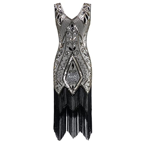 metme womens 1920s vintage flapper fringe beaded great gatsby party dress
