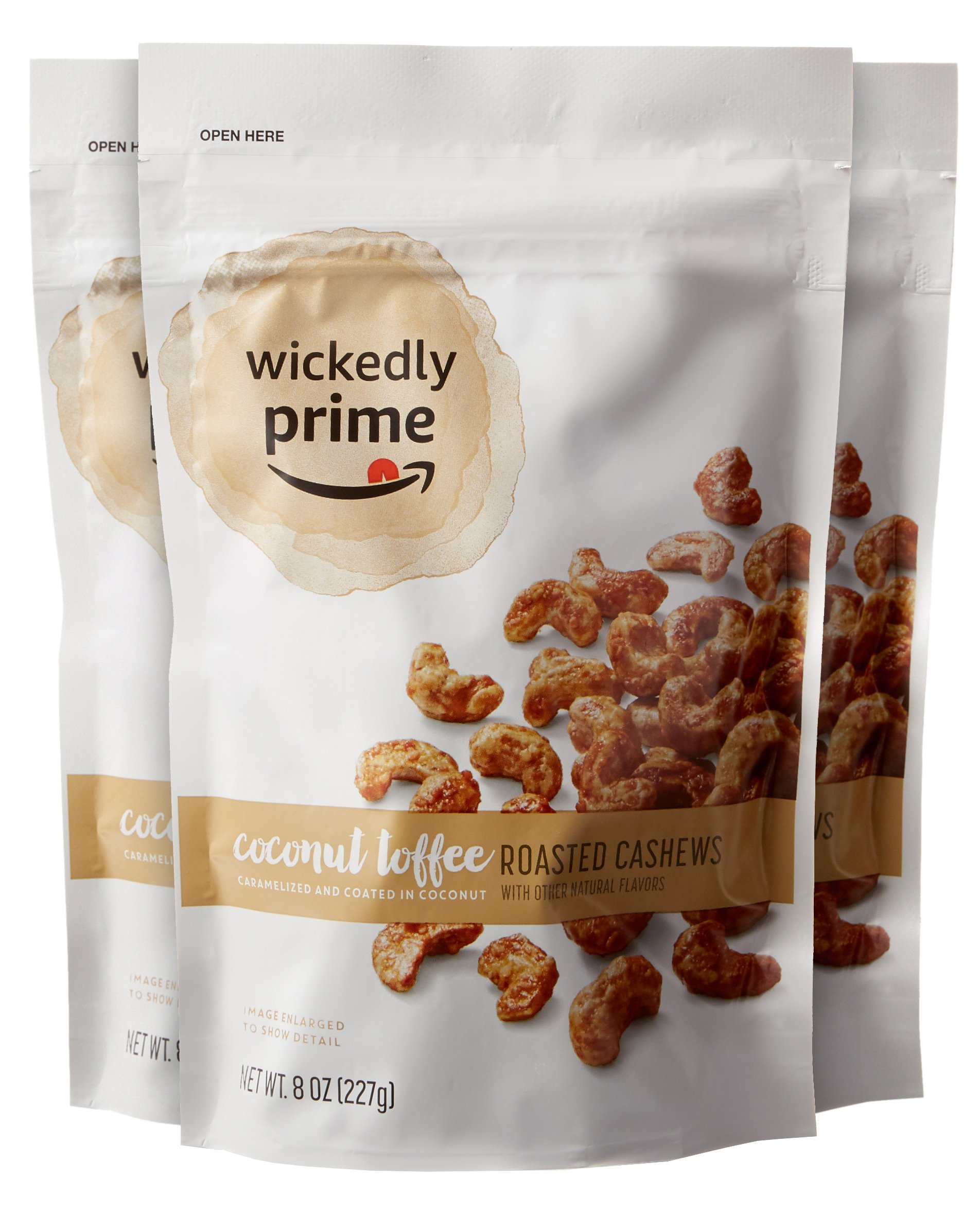 Wickedly Prime Roasted Cashews, Coconut Toffee, 8 Ounce (Pack of 3)