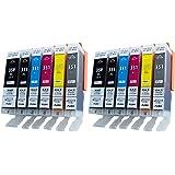 [2セット12個] BCI-351XL+350XL/6MP (350XLは顔料) 6色×2セット 互換インク ICチップ付き 残量表示可能 大容量 ZAZ FFPパッケージ(E)