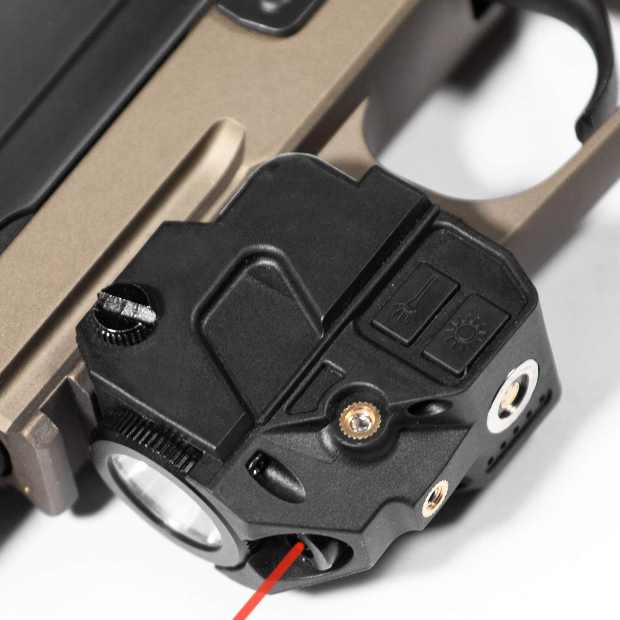 Firefly V2 Flashlight Laser Sight | Strobe Function | Combat Veteran Owned Company | Pistols | Rifles | 220 Lumens | Magnetic Charging | Laser Flashlight Combo For Handgun | Gun Light (Red-Laser) by Tacticon