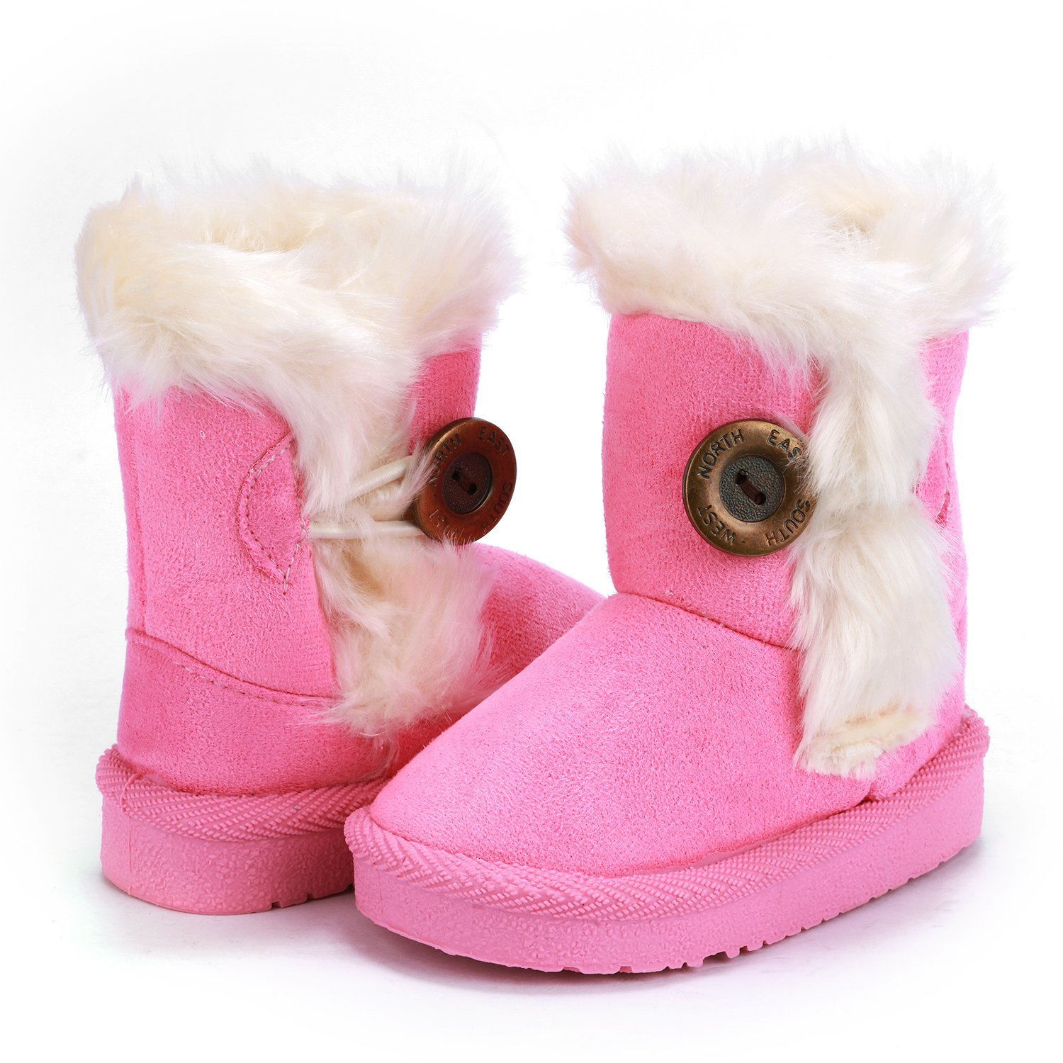 UBELLA Babys Girls Boys Flat Shoes Button Winter Warm Fur Snow Boots Toddler//Little Kid