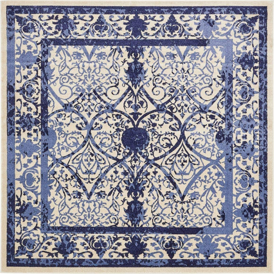 Unique Loom La Jolla Collection Tone-on-Tone Traditional Ivory Blue Square Rug 8 0 x 8 0