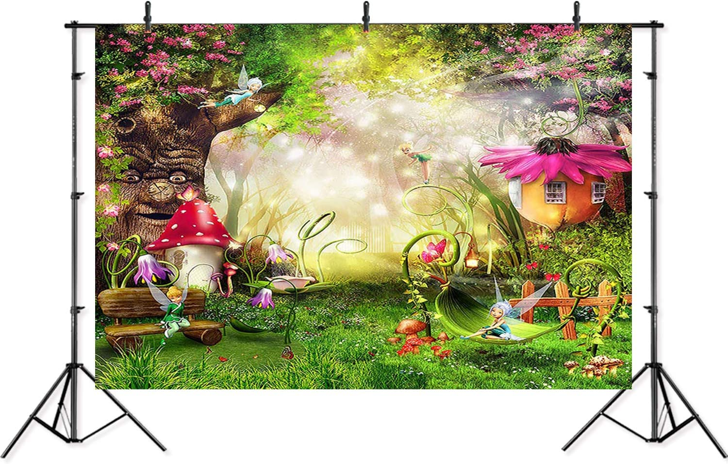 Zhy 7X5FT ForeTree Elves Backdrop Fairy Tale Tree Hole Meadow Fantastic Night Scene Baby Shower Birthday Photography Background WQST146