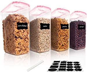 Vtopmart Cereal Storage Container Set, BPA Free Plastic Airtight Food Storage Containers 135.2 fl oz for Cereal, Snacks and Sugar, 4 Piece Set Cereal Dispensers with 24 Chalkboard Labels, Pink