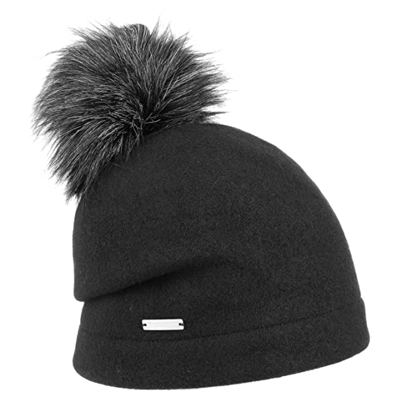 2aec1e75cc7 Seeberger Tamisa Milled Wool Hat Pompom Beanie (One Size - Black)   Amazon.co.uk  Clothing