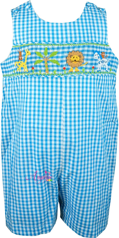 6c3120024a58 Amazon.com  Angeline Baby Toddler Boys Vintage Heirloom Hand Smocked  Shortall Safari JonJon  Clothing