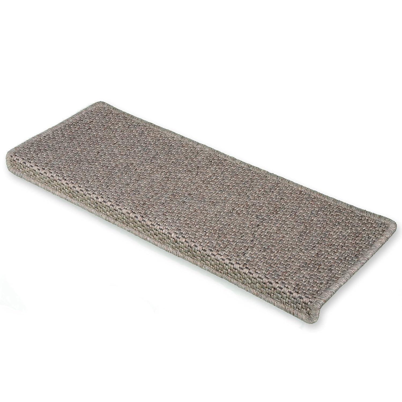 casa pura Kalkutta 15x Sisal Look Rectangle Stair Carpet Tread Mats, Taupe Pollution Free, Incredibly Robust High Traffic