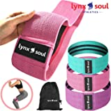 LYNXSOUL Fabric, Non Latex, Booty Resistance Workout Exercise Hip Bands Fitness Loop Circle Exercise for Legs and Butt - Activate Your Glutes and Thighs - Includes 3 Bands and Carry On Bag