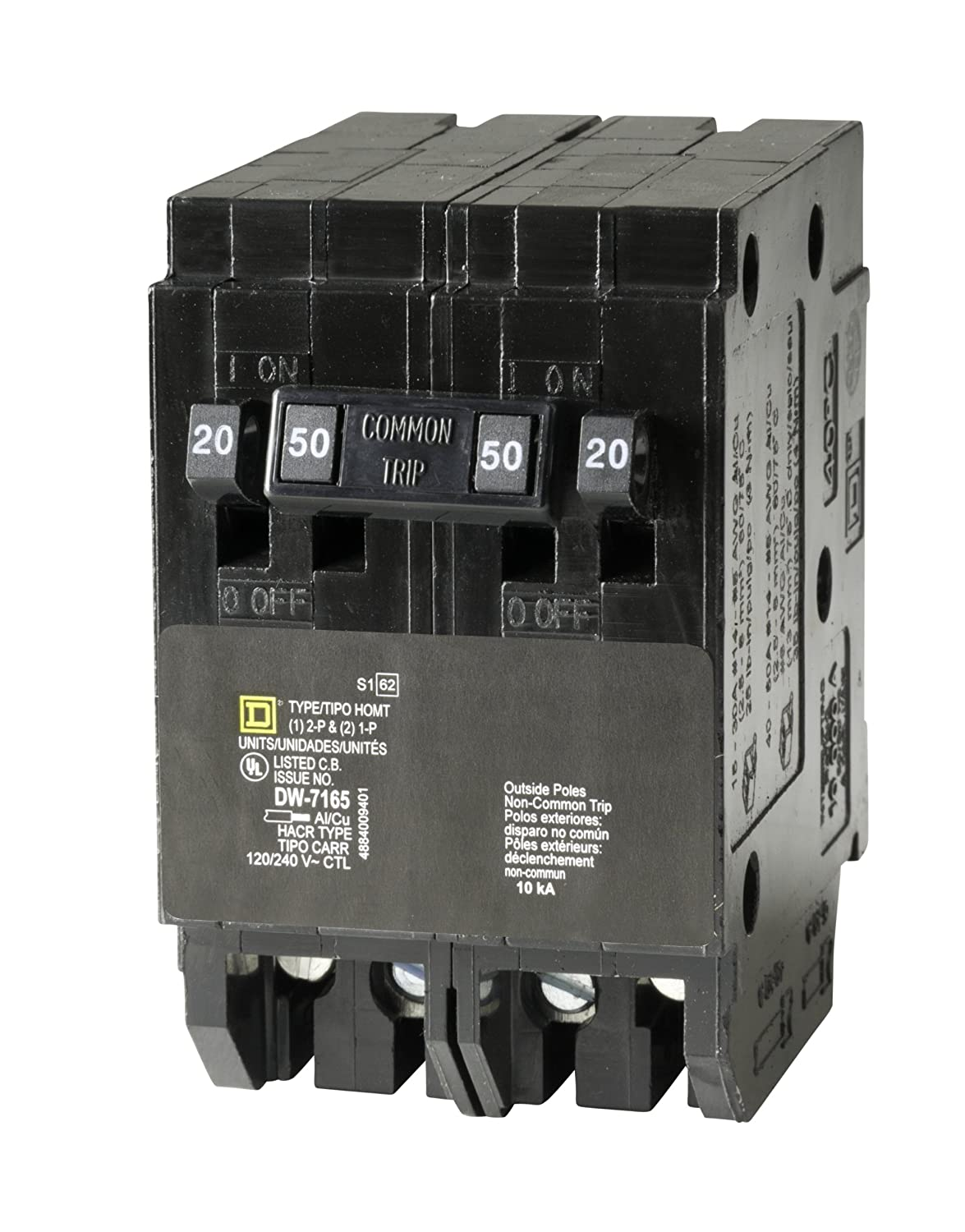 Square D By Schneider Electric Homt2020250cp Homeline 2 20 Amp How To Install A 220v Circuit Breaker In Panel Do It Yourself Single Pole 1 50 Two Quad