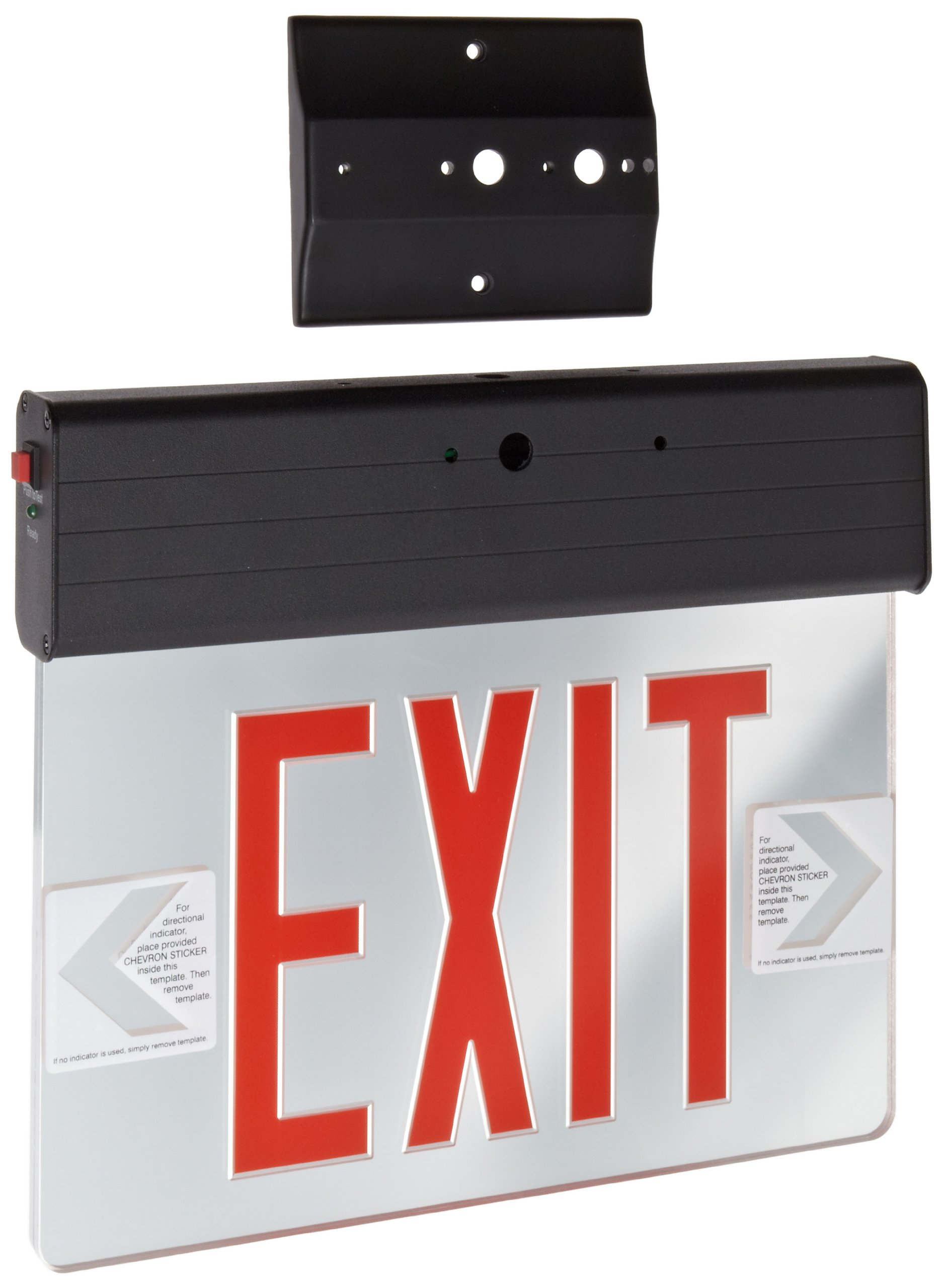 Morris Products LED Exit Sign – Surface Mount Edge – Red on Clear Panel, Black Housing – Compact, Low-Profile Design – Single Side Legend – Energy Efficient, High Output – 1 Count