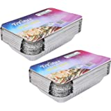 Freshee Pack of 2 x 25 pcs Aluminium Silver Foil Container 750ml | Food Storage Disposable Containers with Lid for Kitchen | Bacteria Resistant