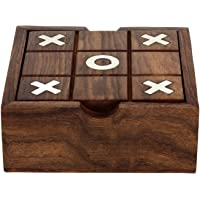 ITOS365 Wooden Tic Tac Toe/ Noughts and Crosses and Solitaire Game Unique Handmade Quality Wood Family Board Games