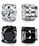 LOYALLOOK Stainless Steel Magnetic Stud Earrings for Men Women Unisex Cubic Zirconia Inlaid 5-10MM