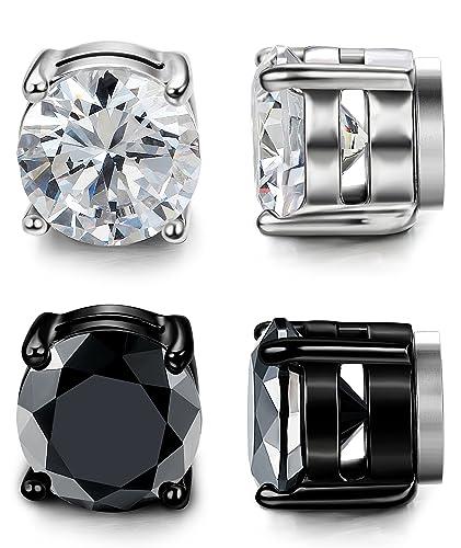 10288fdeea6ce LOYALLOOK Stainless Steel Magnetic Stud Earrings for Men Women Unisex Cubic  Zirconia Inlaid 5-10MM