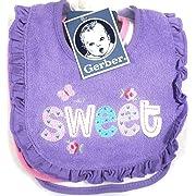 Gerber Newborn Baby Girl Assorted Terry Bibs, 3-Pack