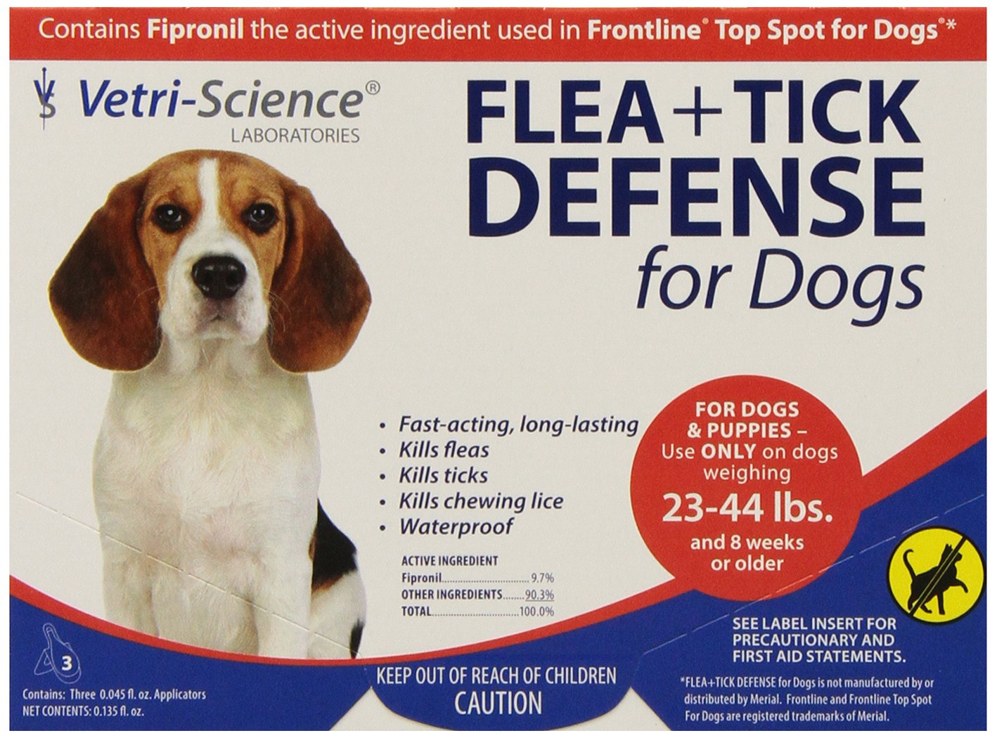 VetriScience Laboratories Flea + Tick Defense for 23 to 44-Pound Dogs and Puppies 3 Doses by VetriScience Laboratories