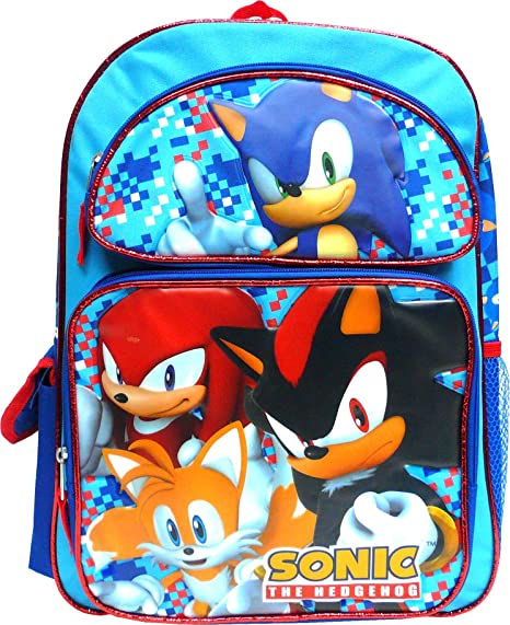 """Details about  /Large Sonic The Hedgehog Boys School Backpack Deluxe Book Bag Kids Toy Gift 16/"""""""