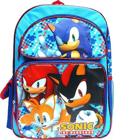 New 16/'/' Sonic The Hedgehog Boy Large School Book Backpack Licensed Side Pocket