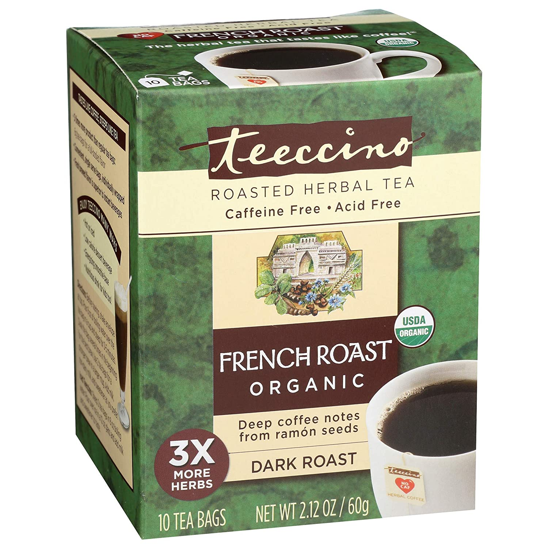 Teeccino Herbal Tea – French Roast – Roasted Chicory | Prebiotic | Caffeine Free | Acid Free | Coffee Alternative, 10 Tea Bags