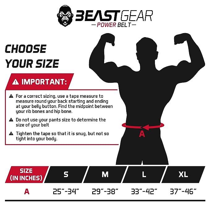 Beast Gear PowerBelt - Cinturón de Levantamiento de Pesas de Doble Punta, 10,16 x 10 mm, Piel de Nobuk, con Remaches de Tornillo avanzados, Negro, ...