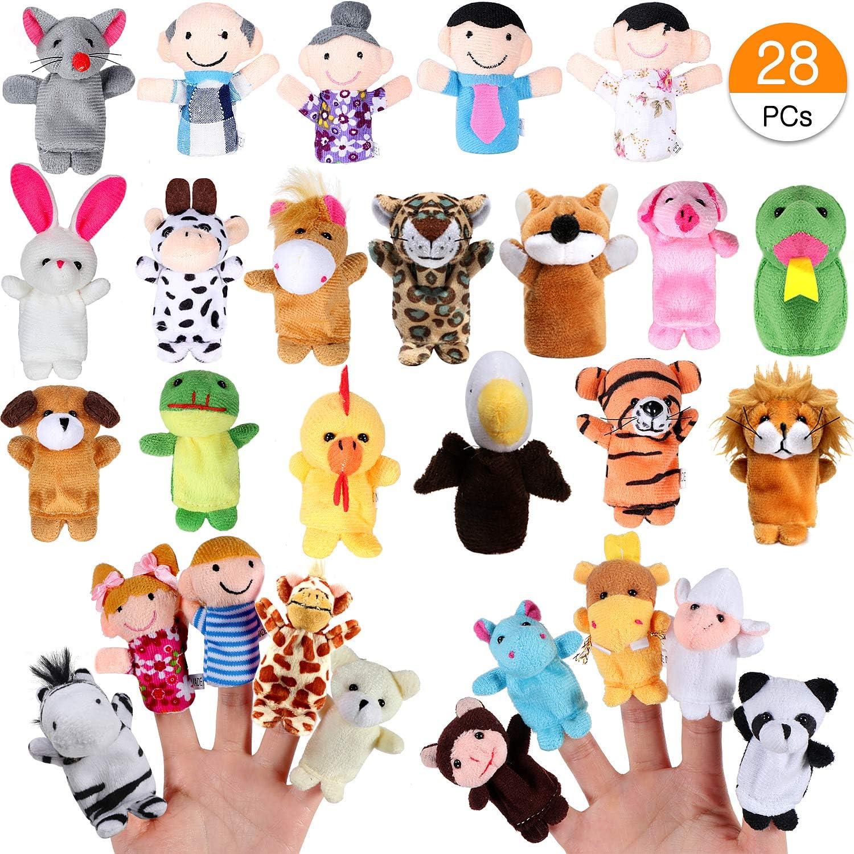 Joinfun Marionetas de Dedo Animales y Familias para Niños Bebe 28Piezas Cartoon Animal Hand Toys Infantes Niños pequeños Cuento Educativo Hora