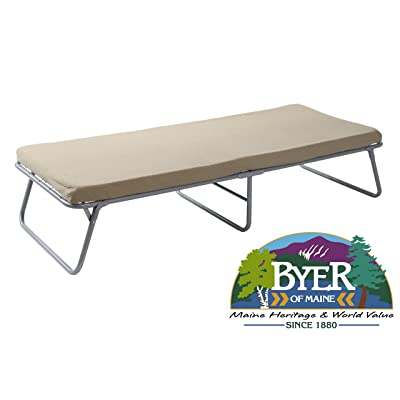 """BYER OF MAINE Collapsible Steel Frame Cottage Cot Bed, Swedish Bed, Set Up Dimensions are 75""""L x 31""""W x 17""""H and Folds Up for Storage to only 37H x 32W x 7"""" Thick for Storage, Guest Bed, Hideaway Bed: Sports & Outdoors"""